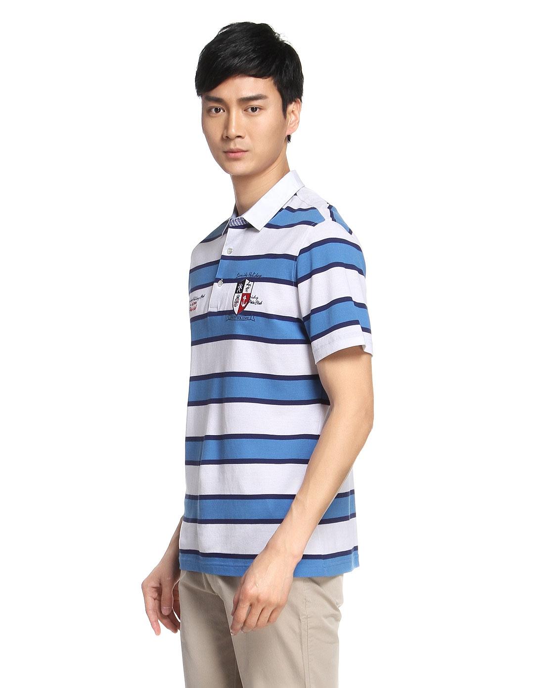 蓝白色条纹短袖针织t恤