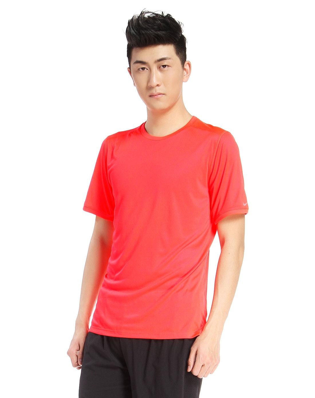 男款荧光红色短袖t恤