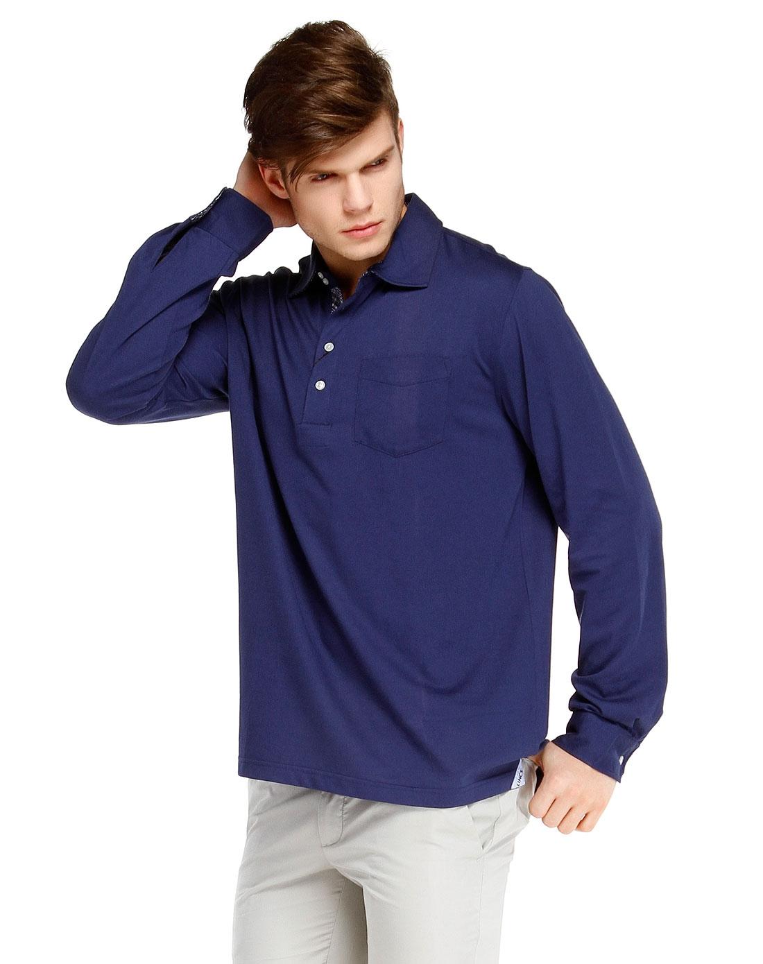 纯色简约深蓝色长袖polo衫