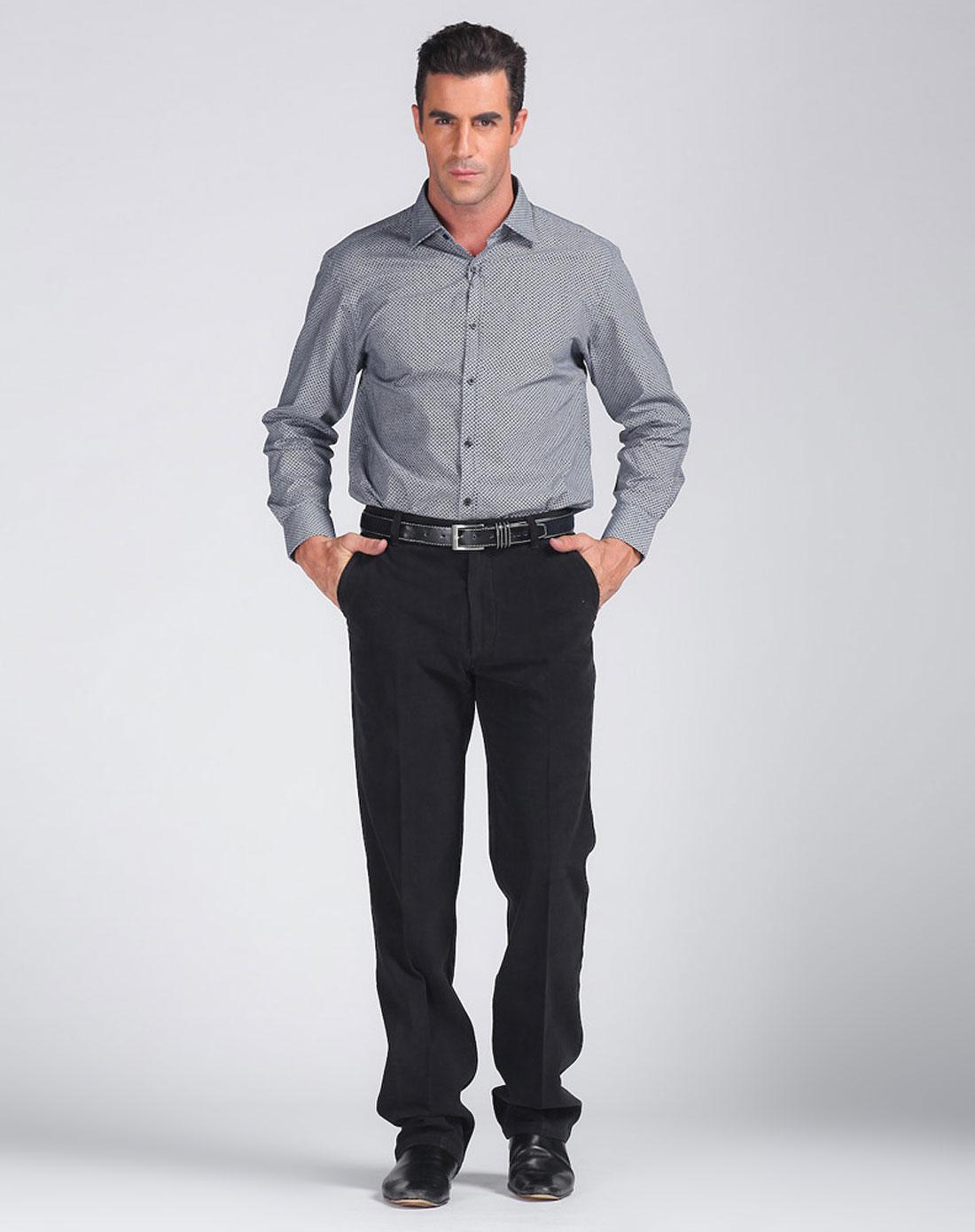 男款深蓝色圆圈花纹长袖衬衫