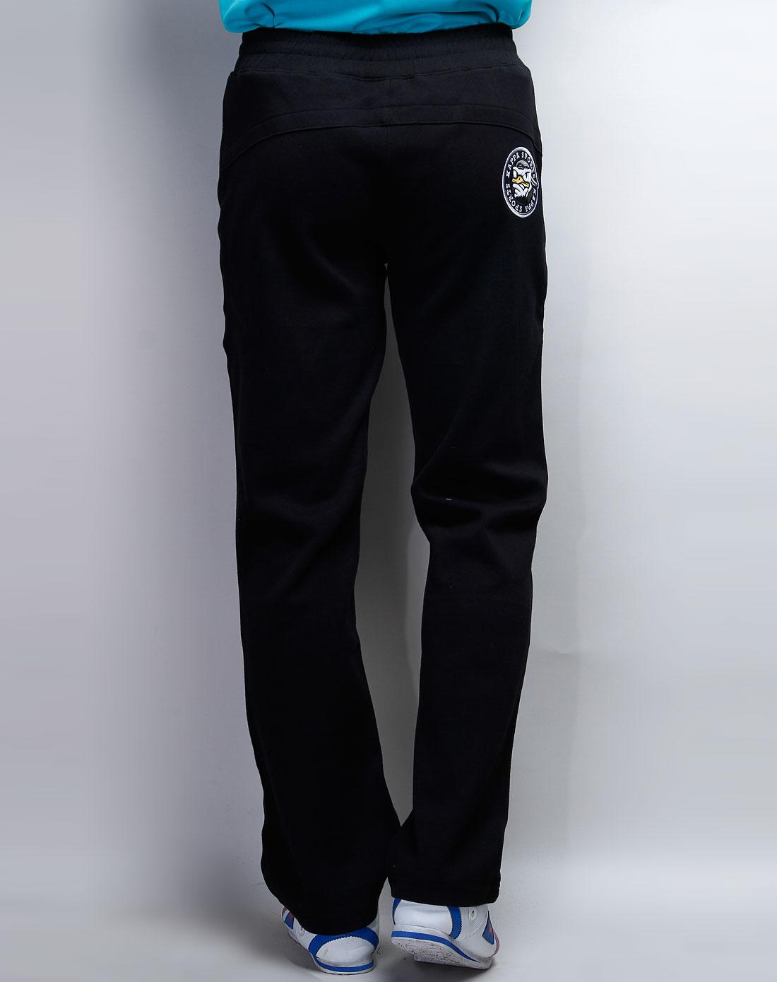 纯黑色针织运动长裤