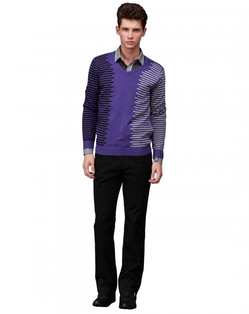 konzen 男款艳紫v领长袖针织衫