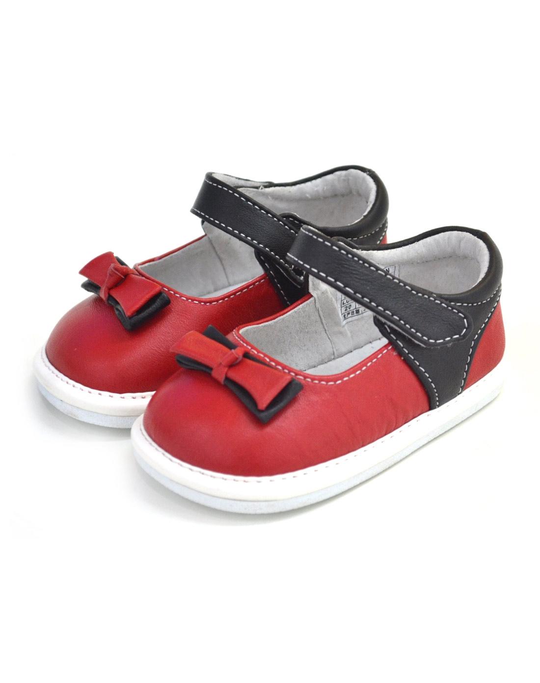 女童大红色时尚休闲系列小皮鞋