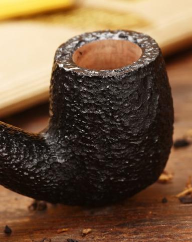 意大利沙芬石楠木烟斗拜占庭黑沙麻面金圈