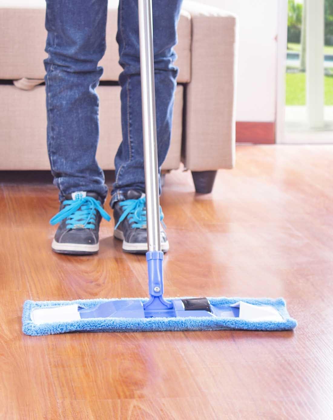 伸缩杆旋转木地板超纤拖把蓝色