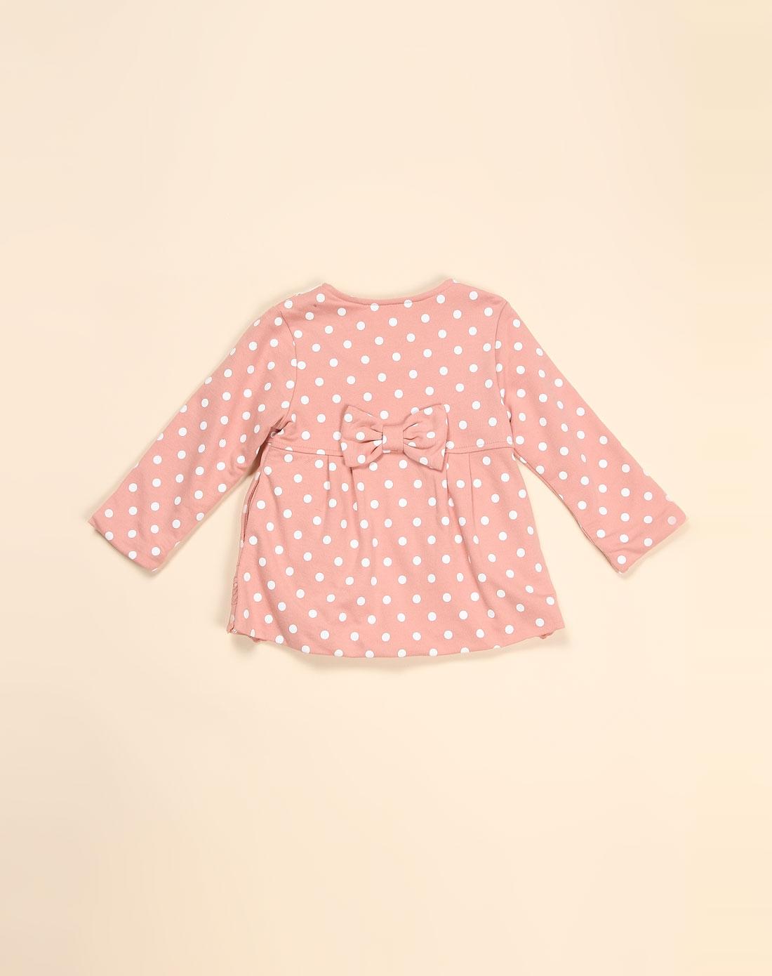 女童圆点可爱深粉色长袖夹里外套