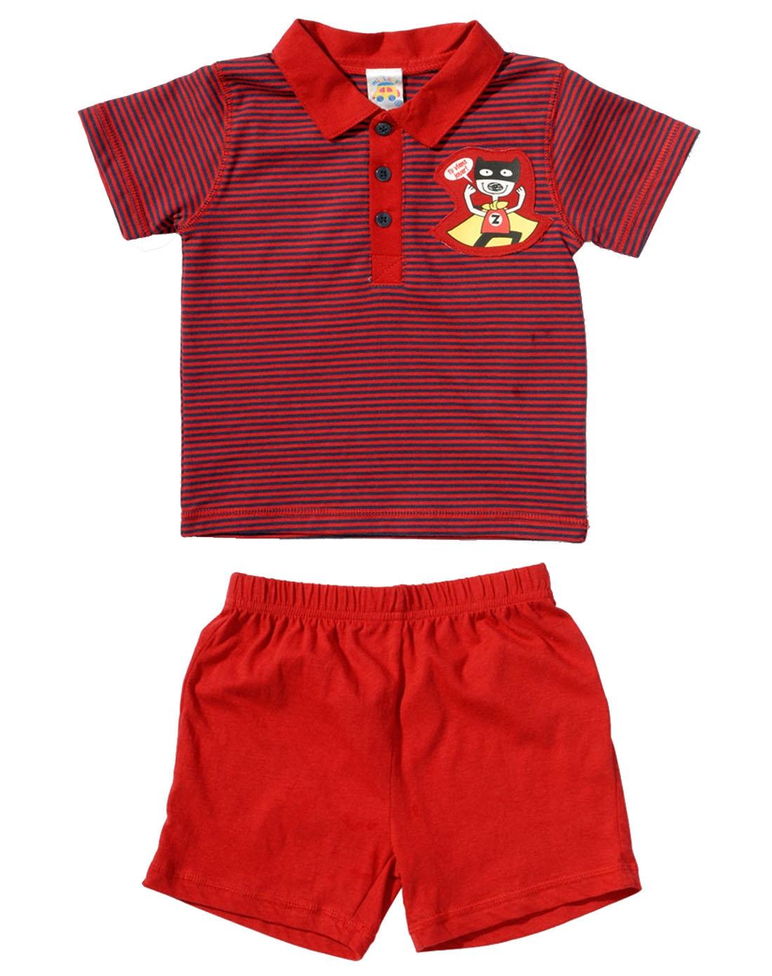男童红色短袖上衣裤子二件套装