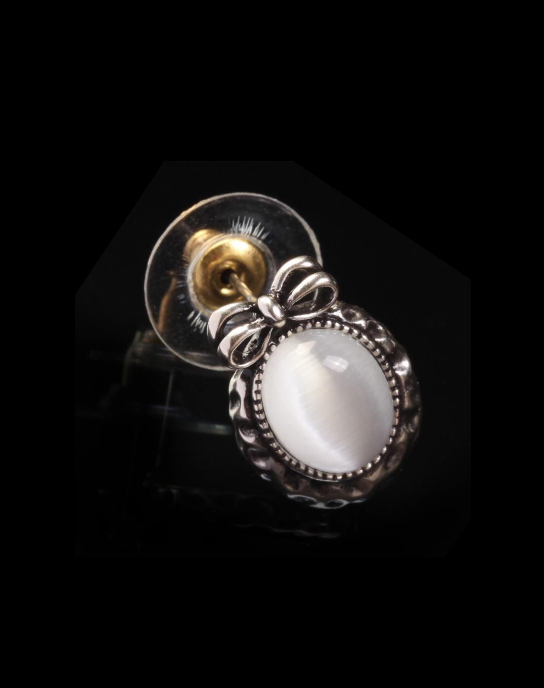 idee艺术首饰萝莉复古白月亮石耳钉