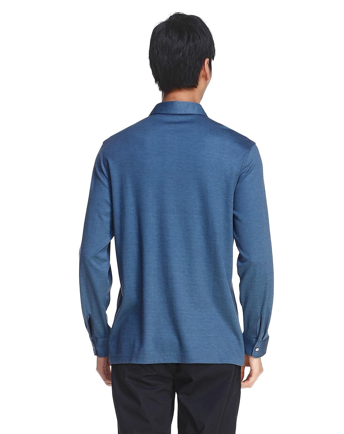 简单大方蓝色长袖t恤