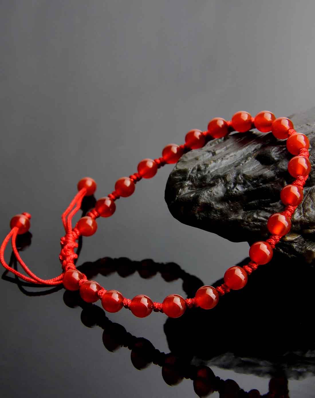 红玛瑙纯手工编绳嵌珠脚链附证书