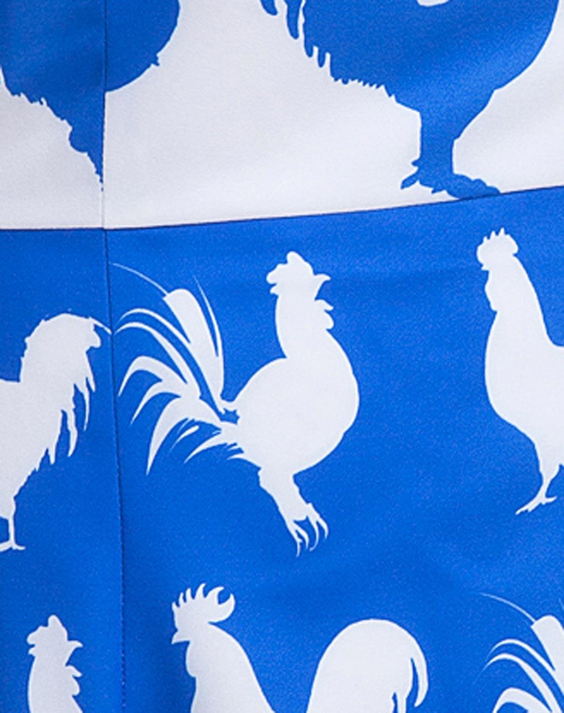 蓝色上下拼色动物图案显瘦款连衣裙