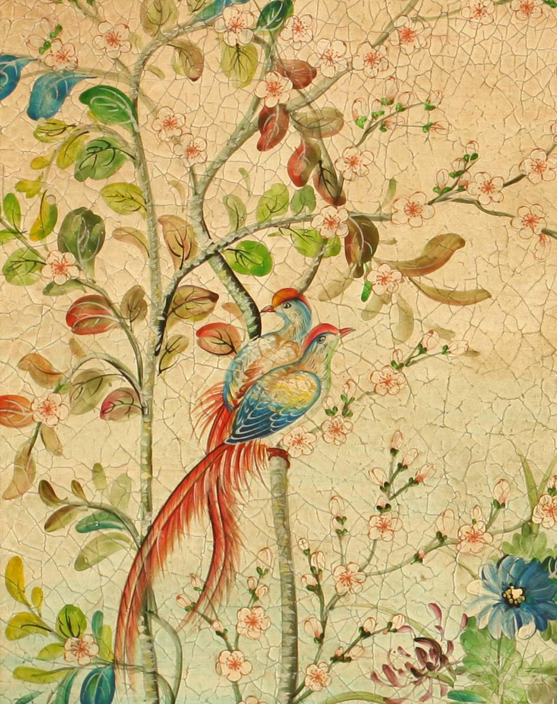 欧式手绘花鸟大型油画木制拱顶壁画装饰画2号