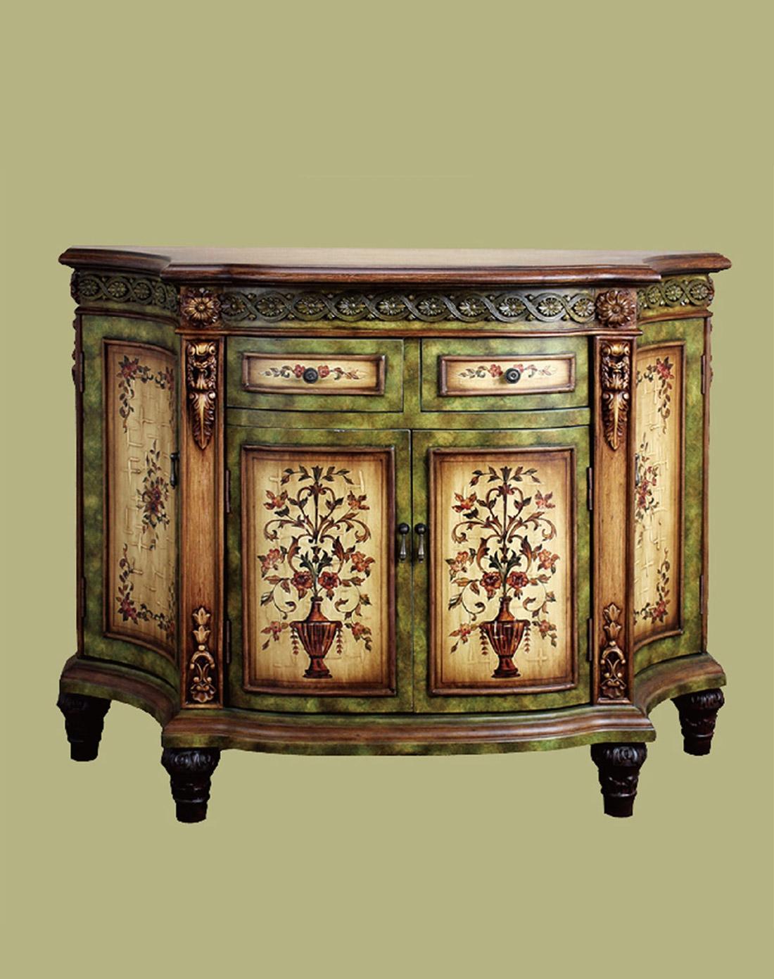 欧式古董雕花怀旧手绘玄关储物柜