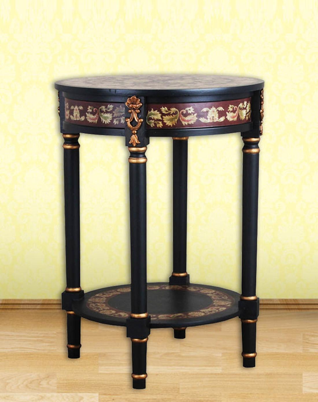 欧式圆形手绘花架花桌图片