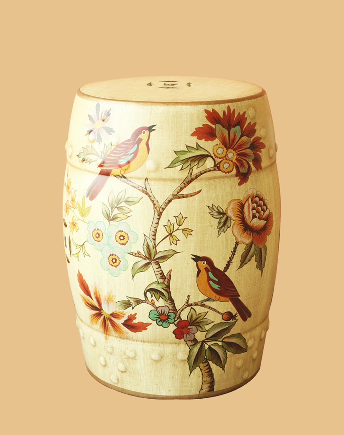奇异花草欧式手绘陶瓷鼓凳换鞋凳梳妆凳