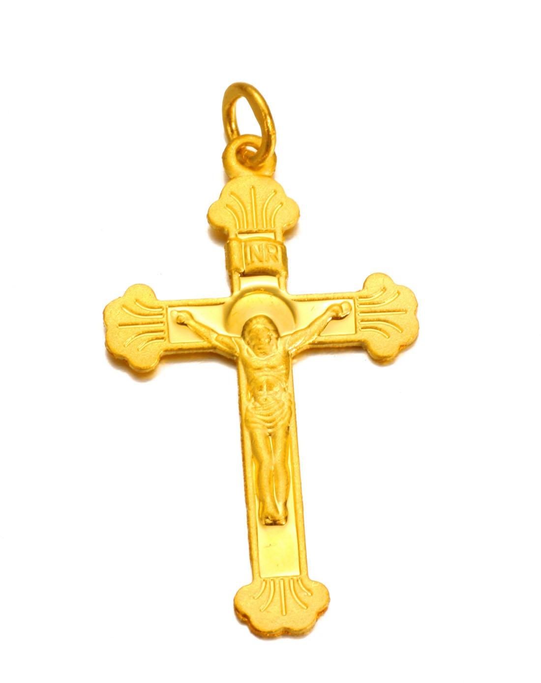 千足金黄金吊坠 耶稣十字架