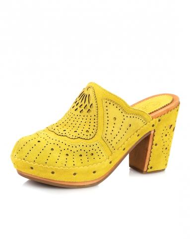 ash 黄色牛反毛镂空花纹凉鞋