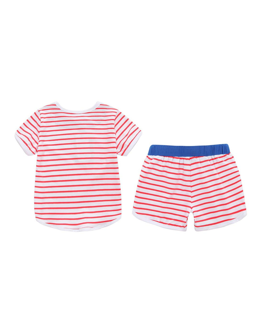 kids男女童女童红白条纹套装gt