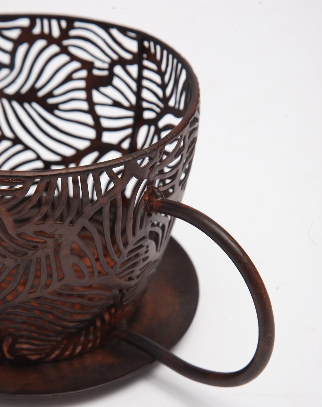 黑色树叶纹铁艺咖啡杯造型花盆架