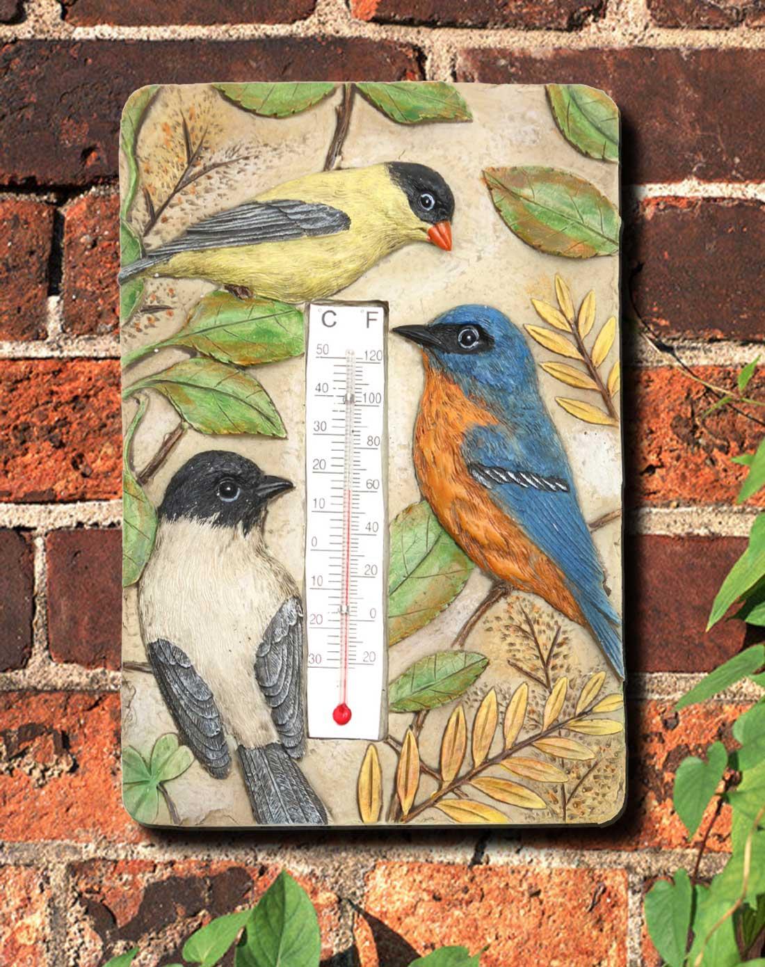 鸟手绘立体雕刻树脂温度计/墙挂