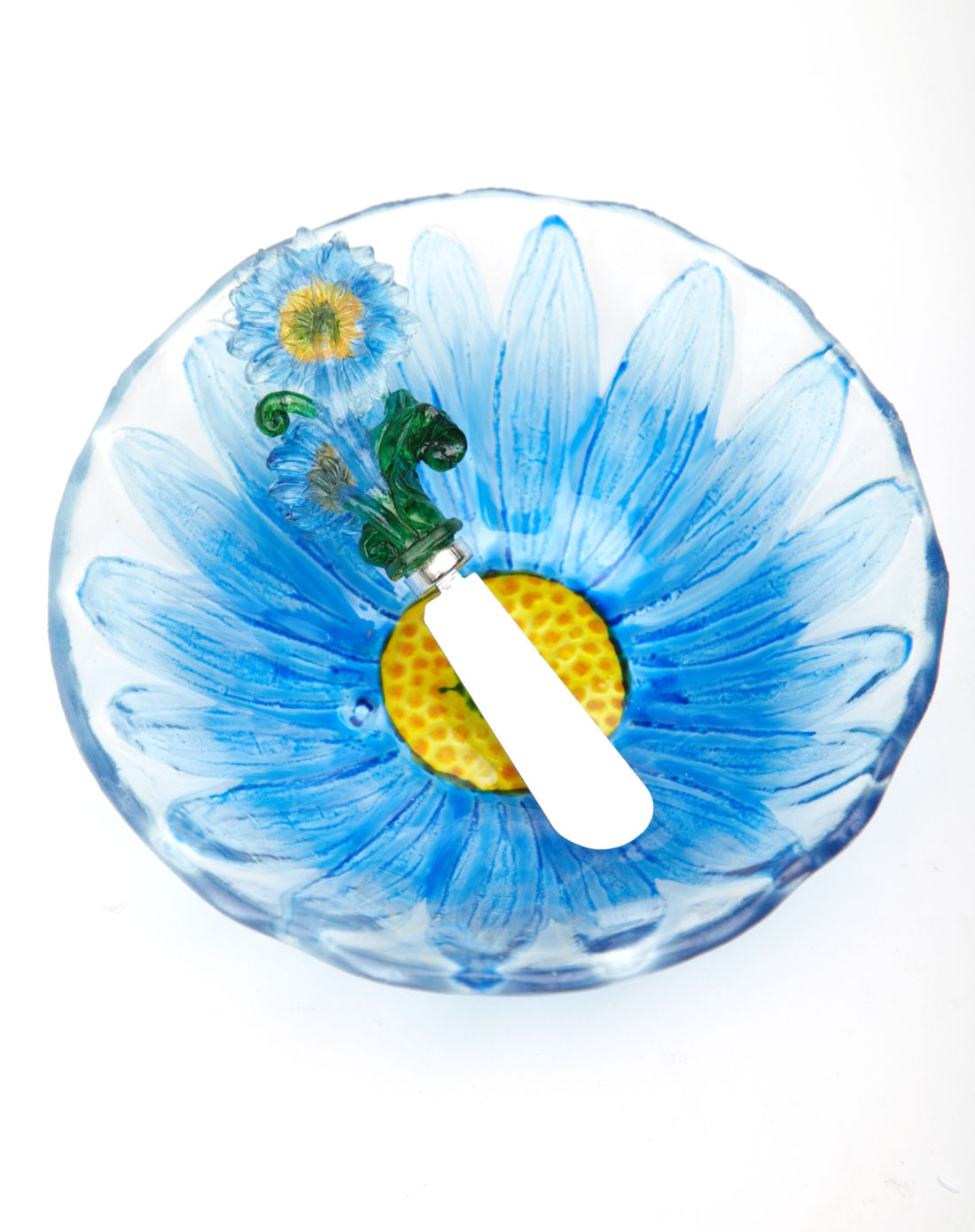 > 热熔手绘玻璃果盘 花型奶酪刀套装