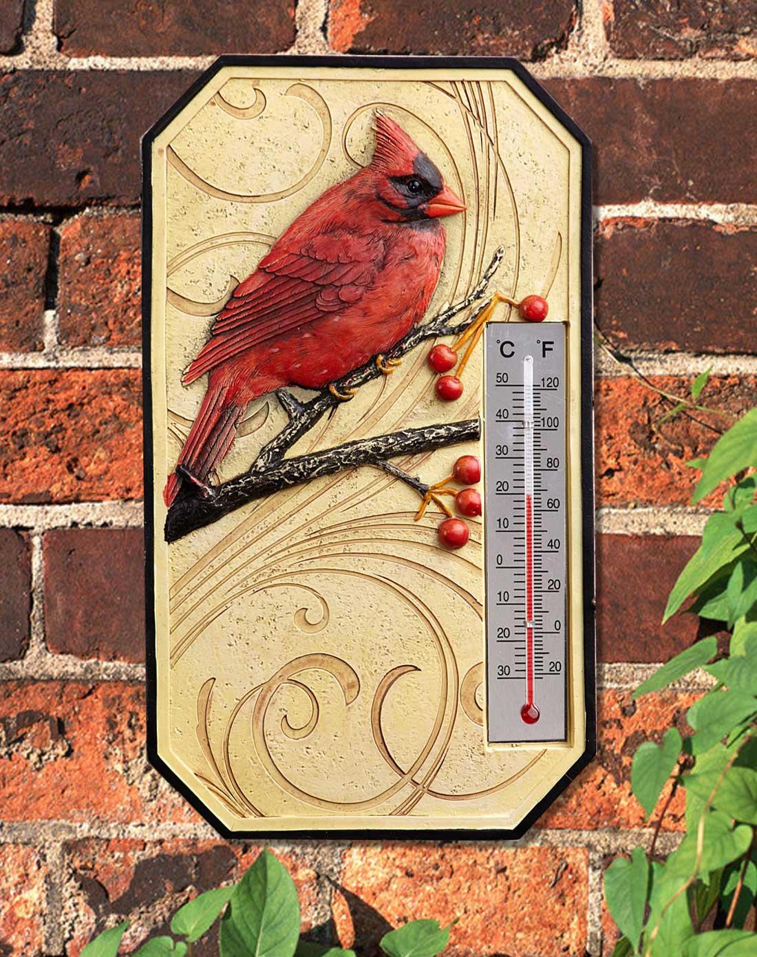 红鸟手绘立体雕刻树脂温度计/墙挂装饰