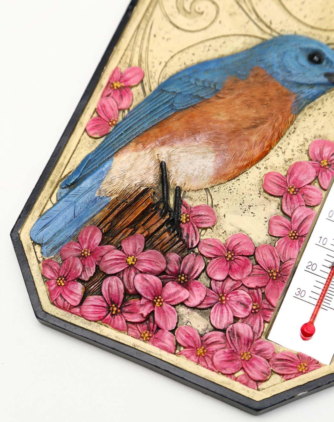 蓝鸟手绘立体雕刻树脂温度计/墙挂装饰
