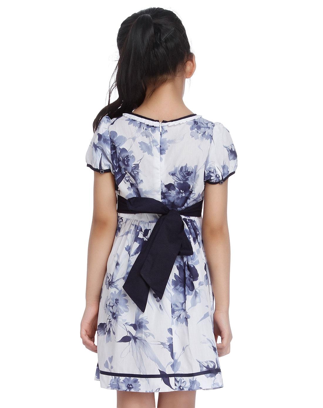 女童水墨印花白底蓝色短袖连衣裙
