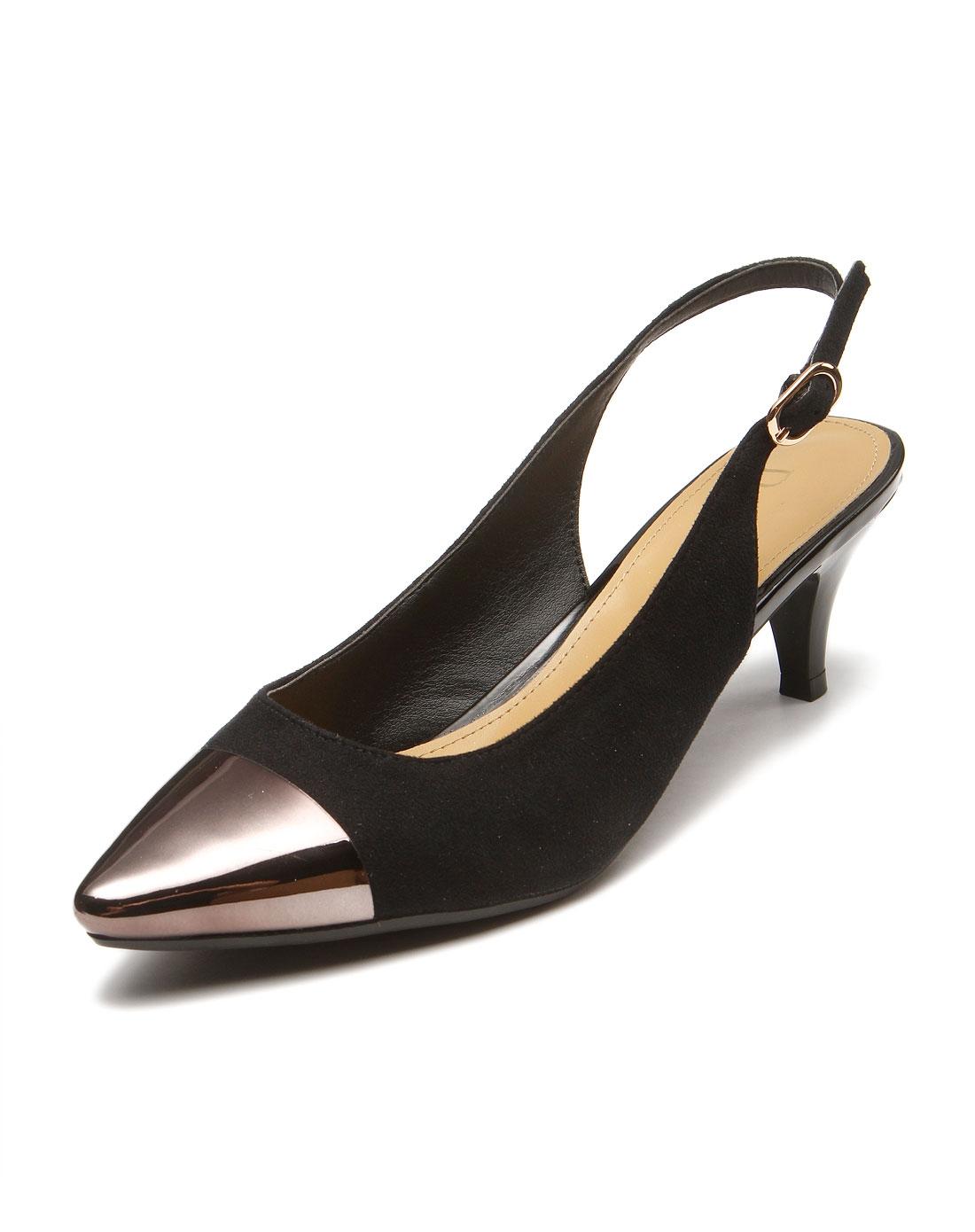 黑色时尚尖头高跟鞋