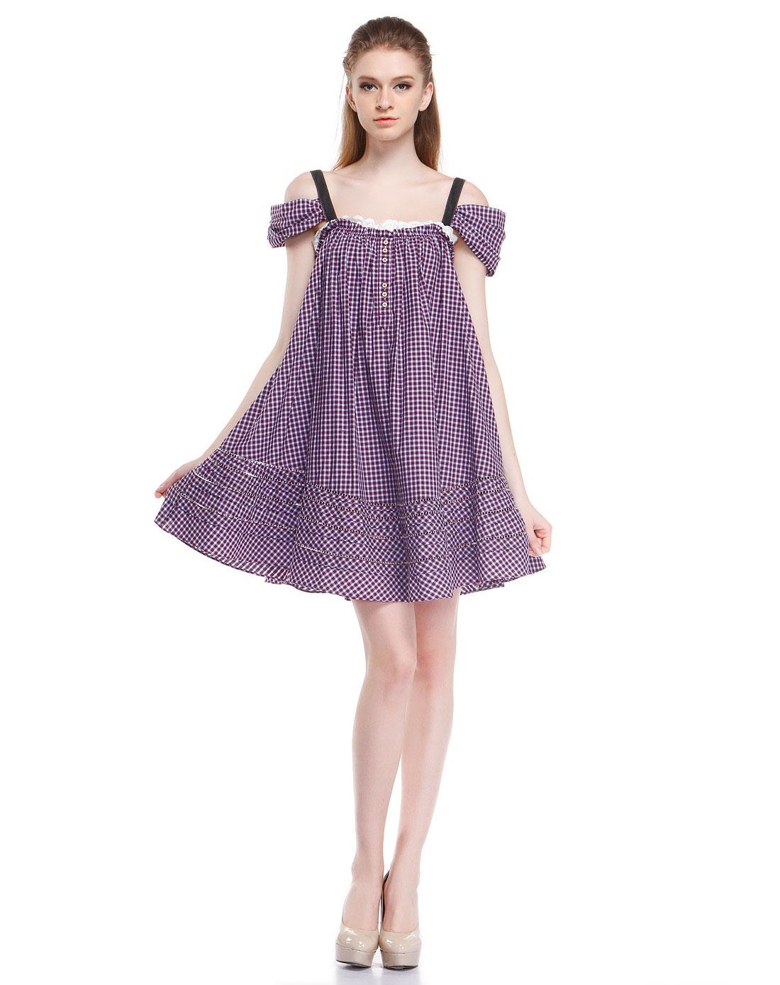 紫红/蓝色可爱细格纹露肩短袖连衣裙