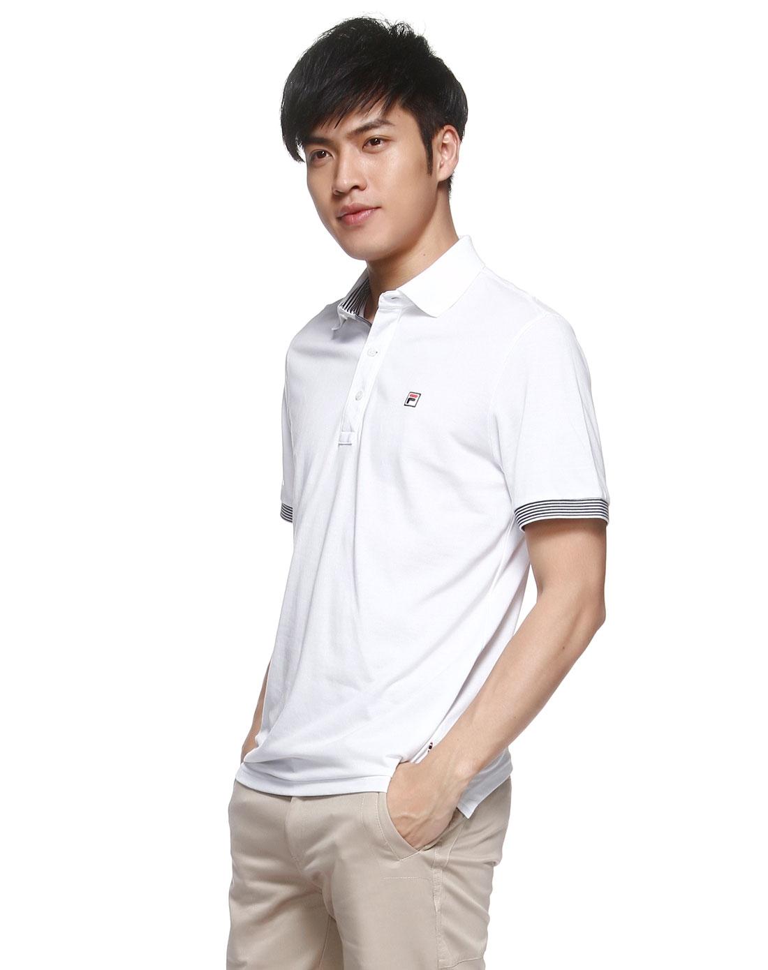 条纹袖口舒适男款白色短袖polo衫