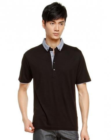 简洁黑色短袖polo衫