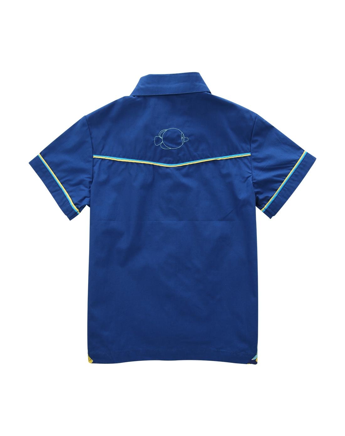男小童海水蓝色辑边短袖儿童衬衫