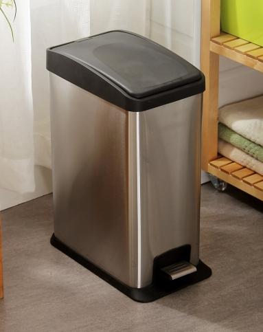 欧润哲orange家具12l不锈钢长方形黑盖垃圾桶101701