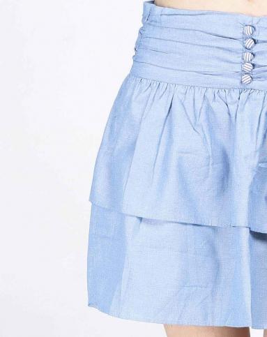蓝色皱褶中裙