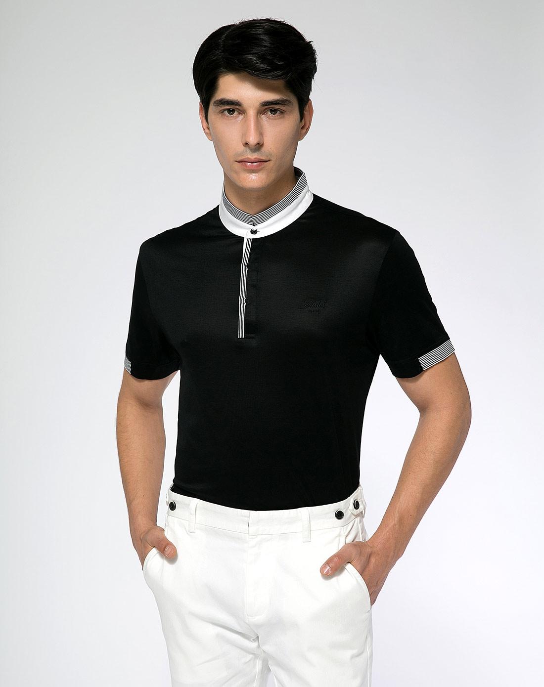 黑色立领短袖t恤
