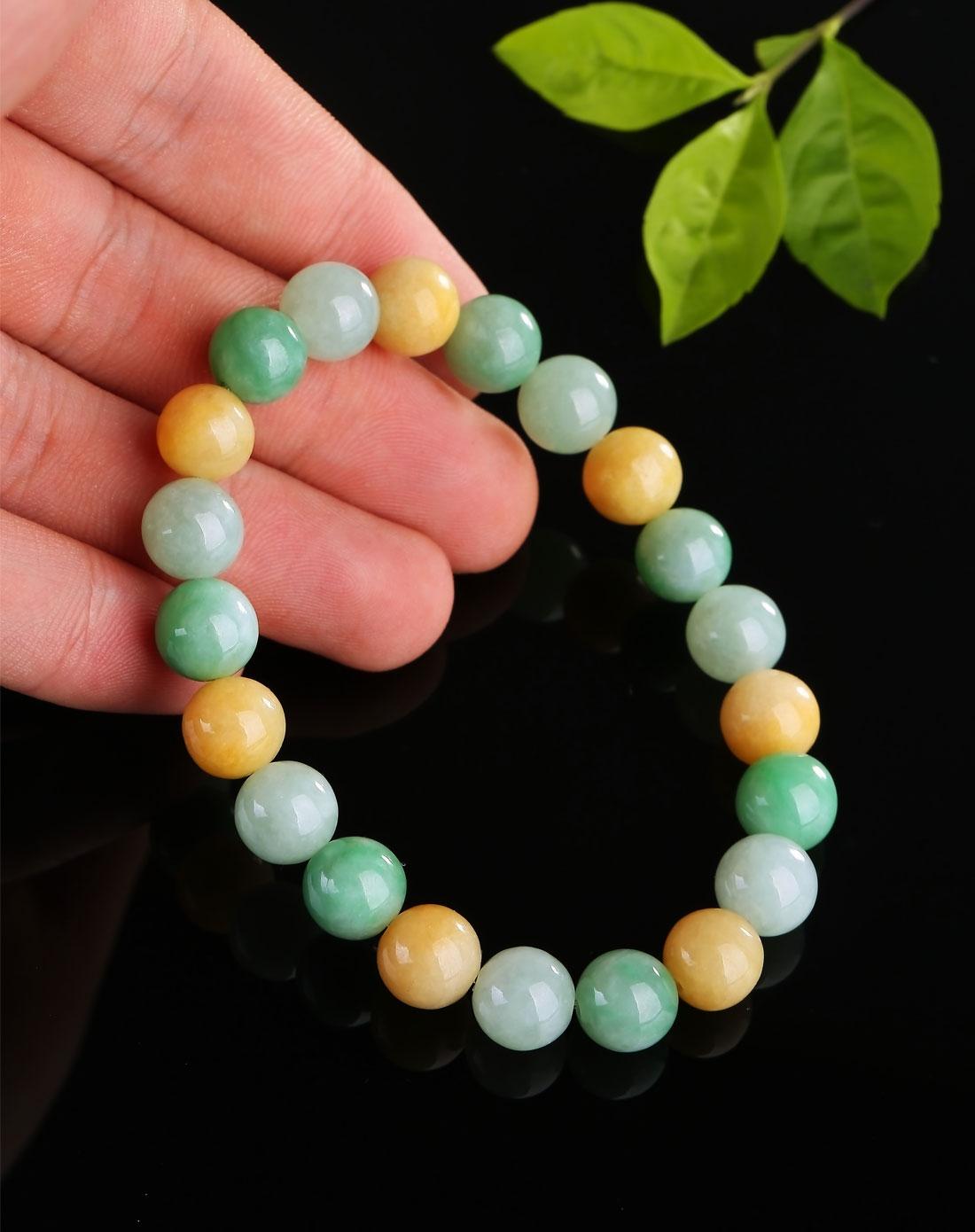 黄色绿色双色翡翠珠子编制手链