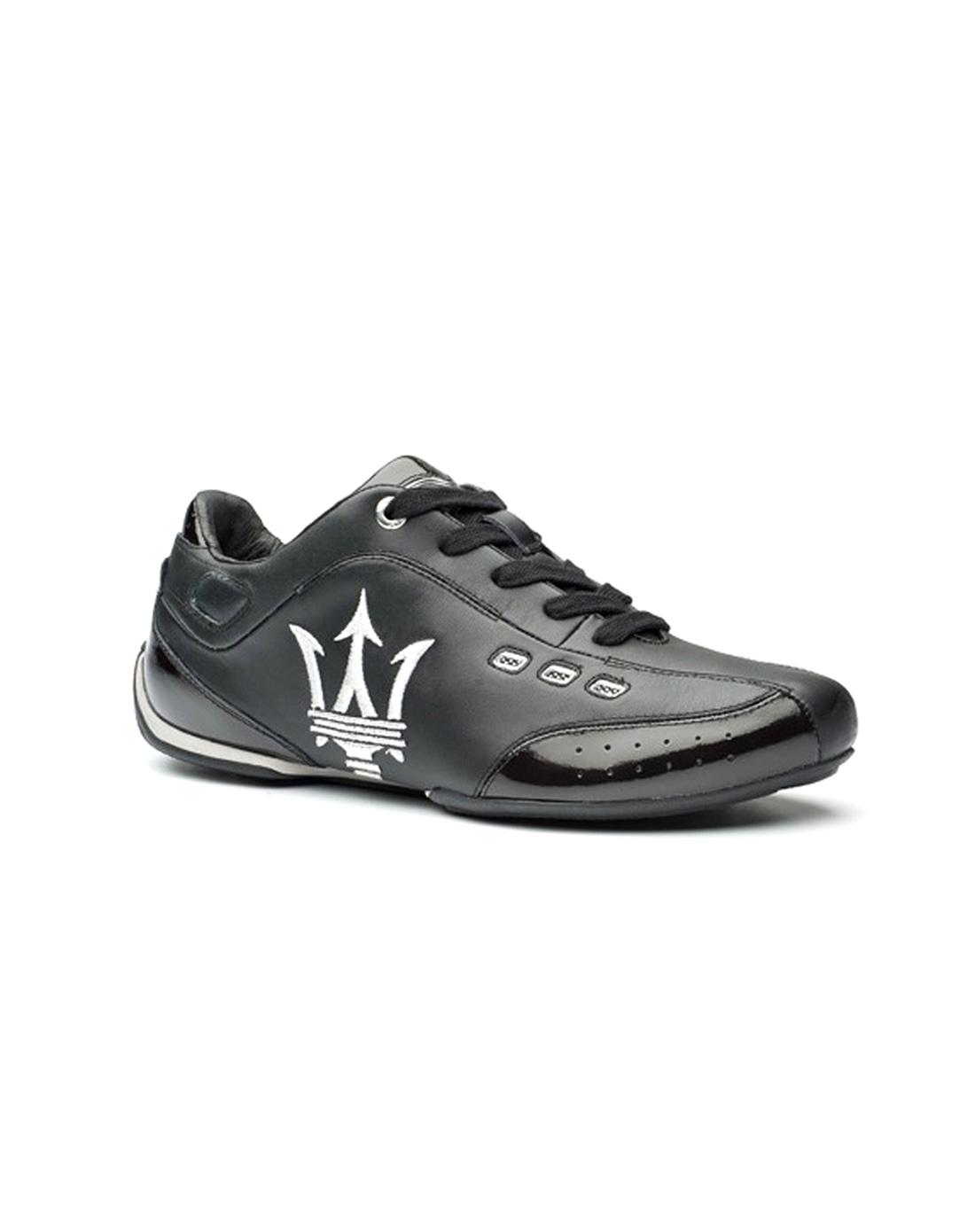 玛莎拉蒂 意大利顶级牛皮经典三叉戟运动鞋