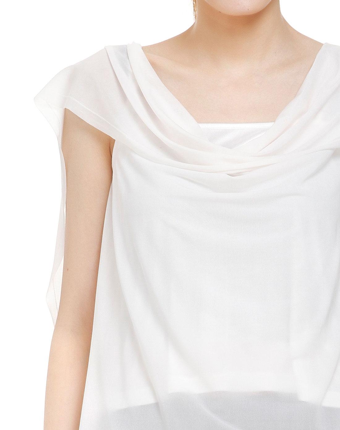grant白色结构设计特色盖肩袖衬衫两件套gc