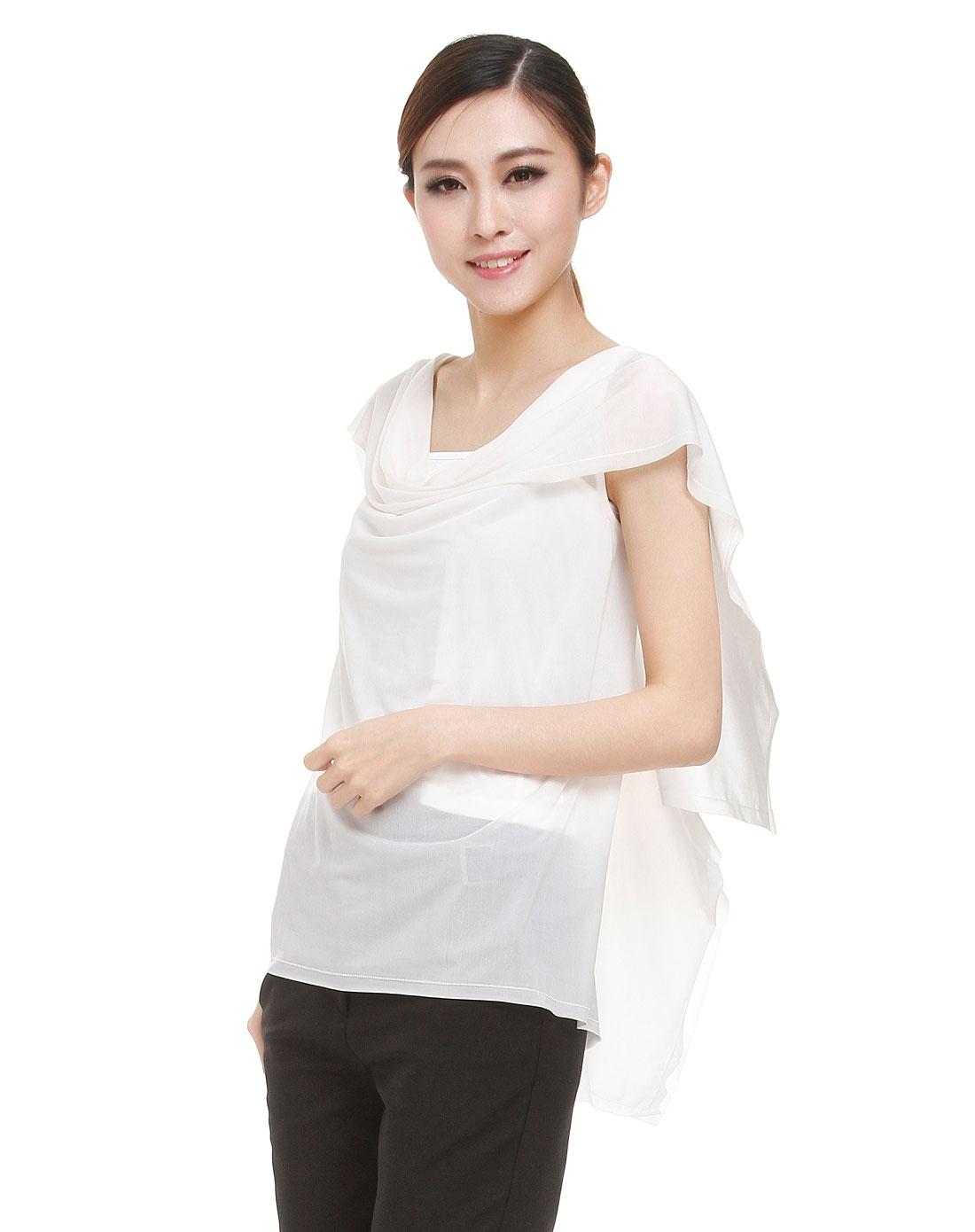 白色结构设计特色盖肩袖衬衫两件套