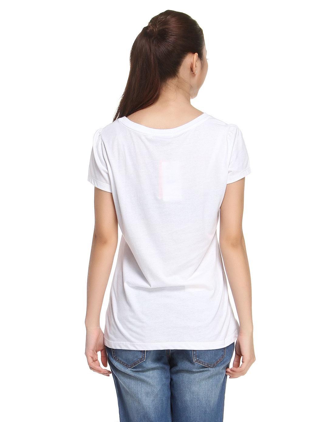 白色卡通印花短袖t恤