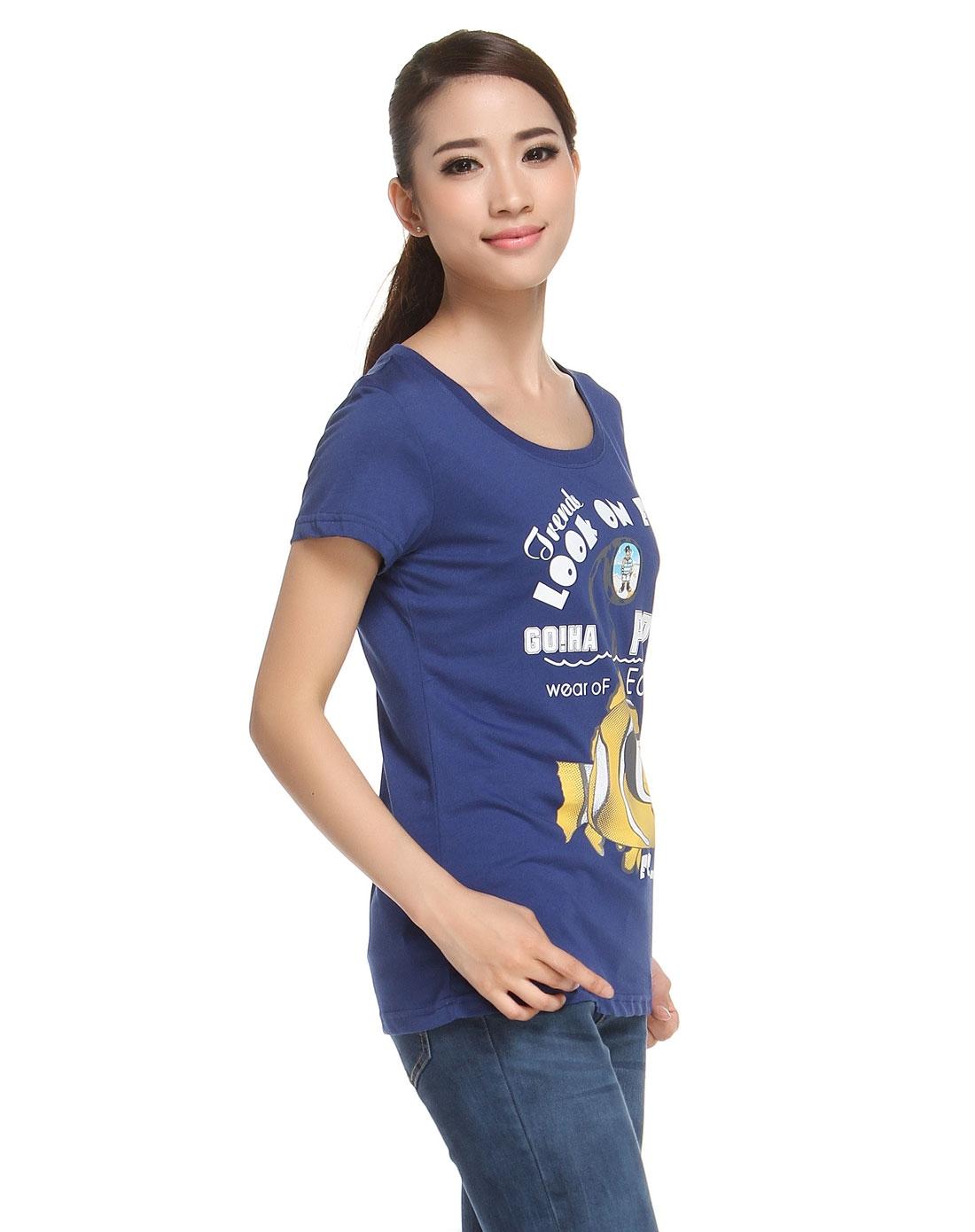 蓝色可爱卡通印花短袖t恤