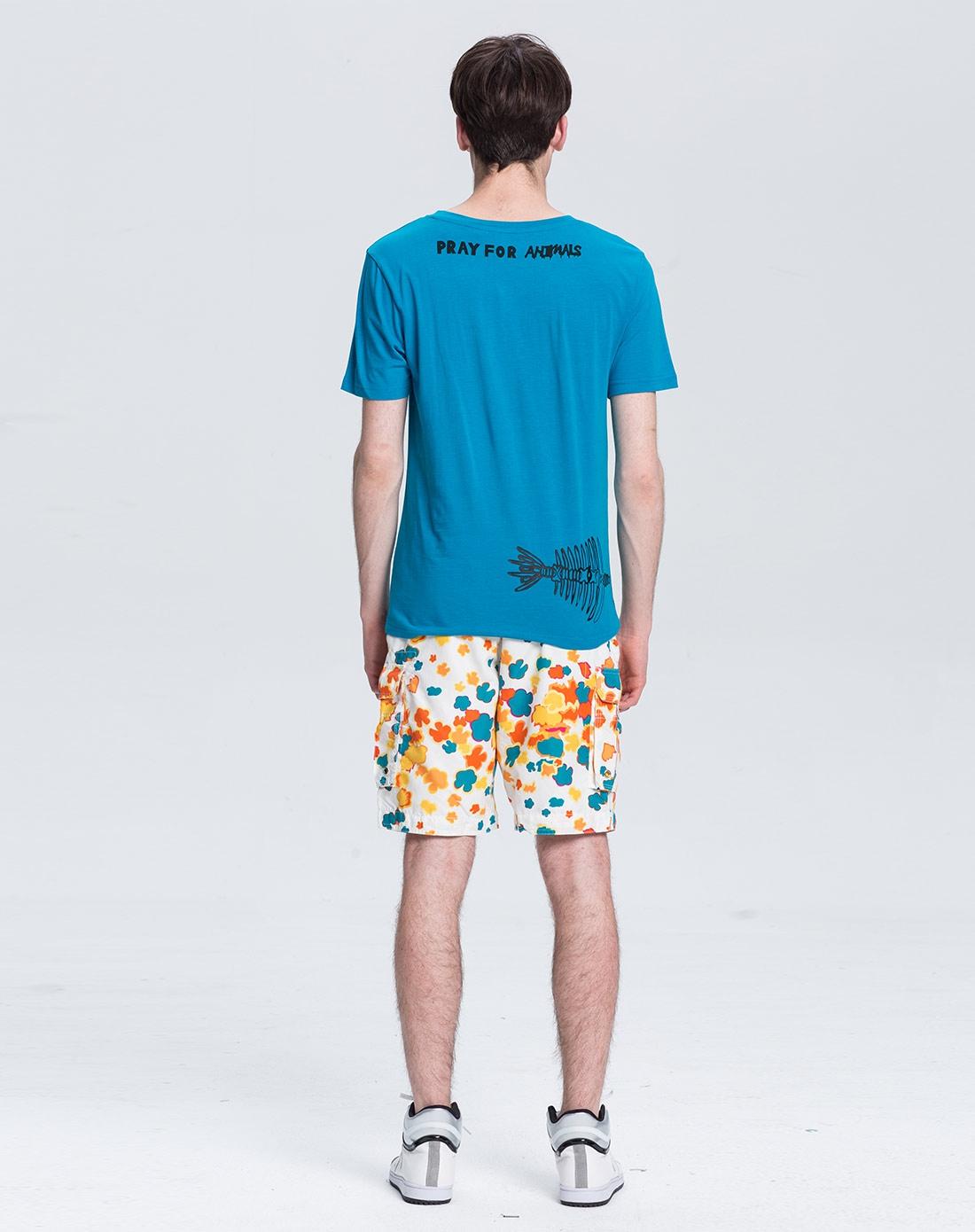 鱼骨架图案环保t恤