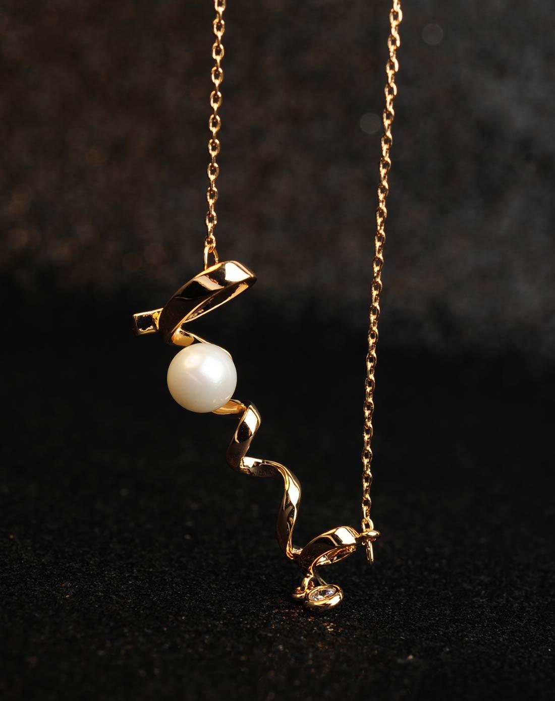 简约love贝珍珠项链-金色