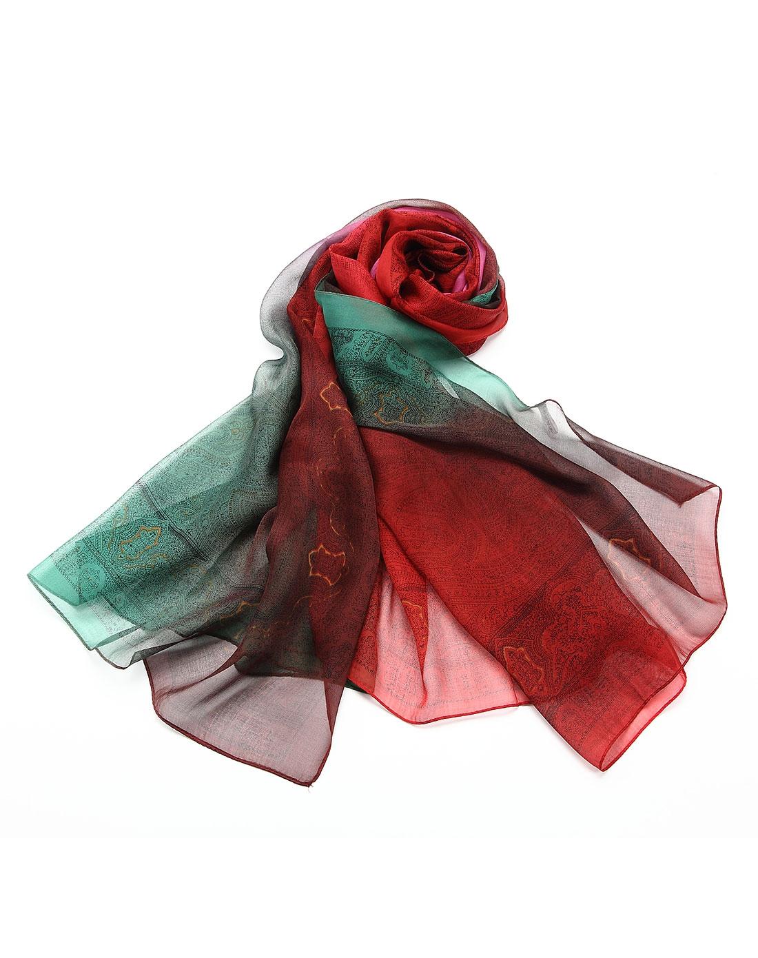 女士红玫绿桑蚕丝丝巾