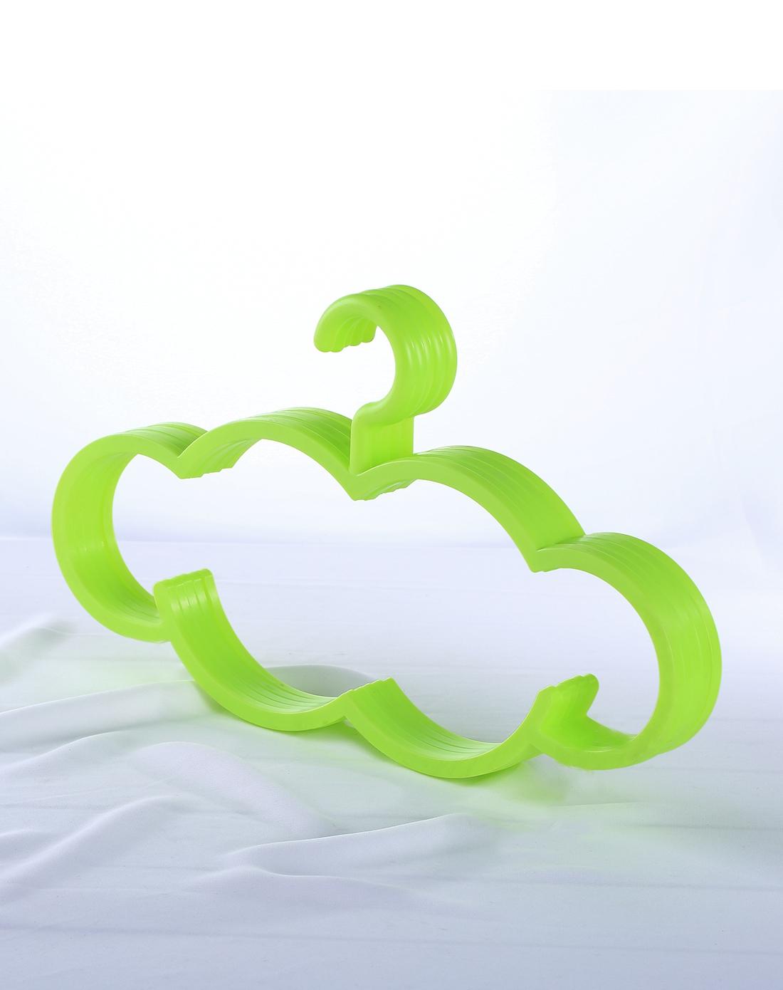 绿色可爱云朵创意防滑塑料衣架5入