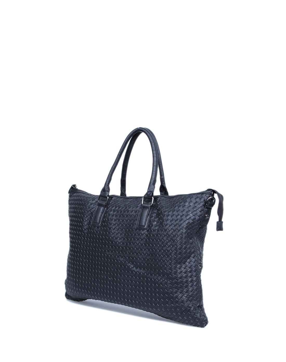 女士黑色手工拼皮编织超大两用行李包