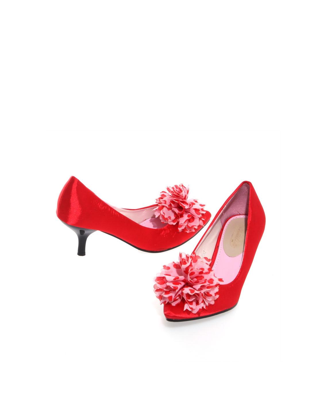 女士红色浪漫花朵银色丝面高跟鞋