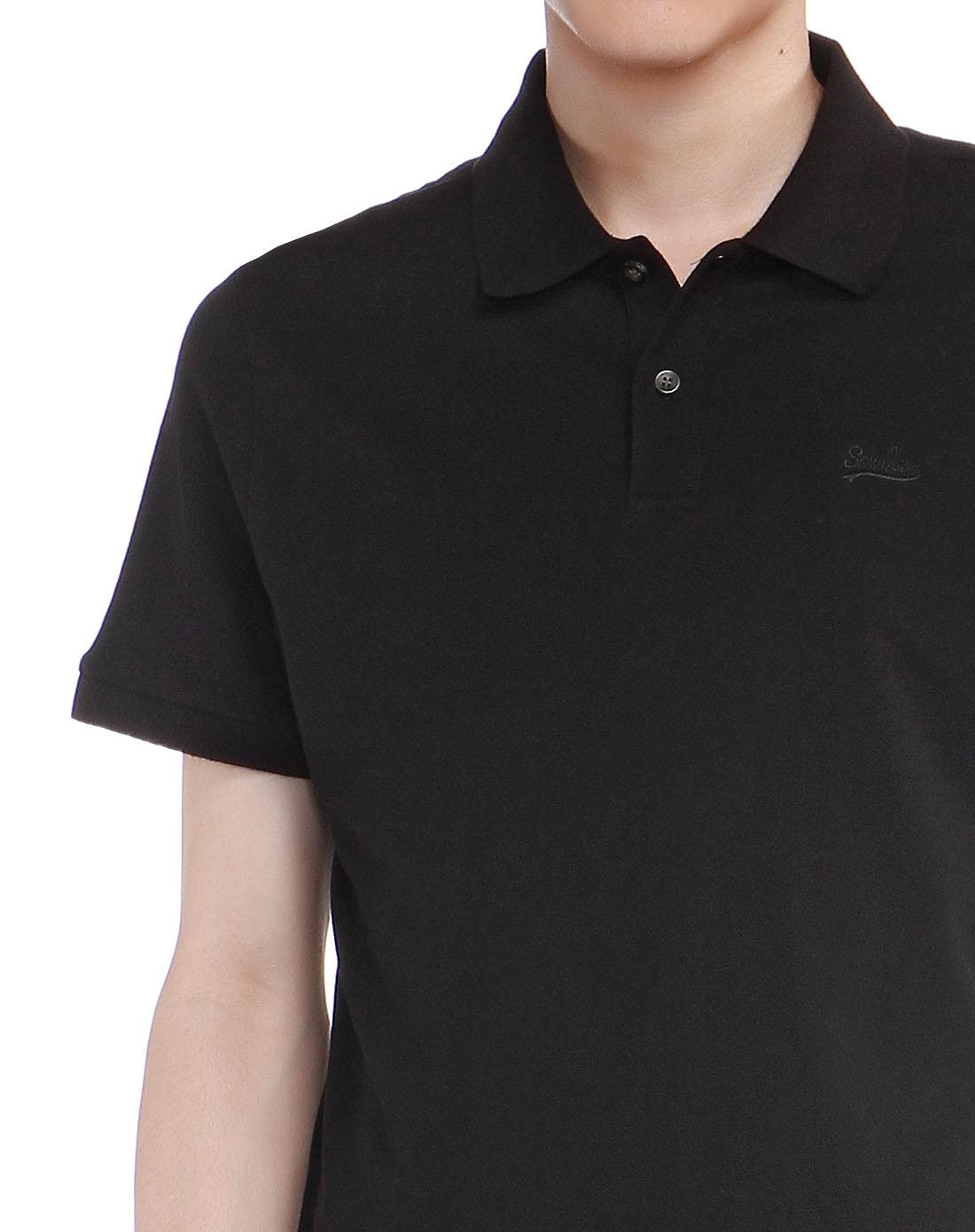 黑色翻领短袖polo衫