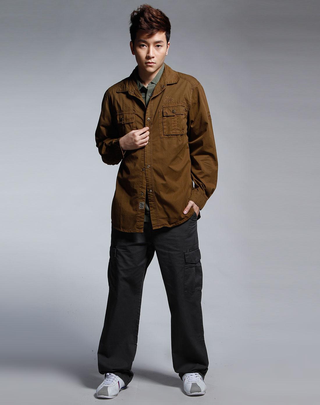 男款棕色衬衫